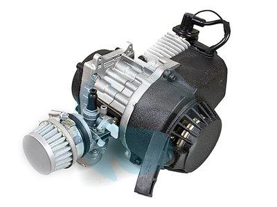 Compleet 47cc / 49cc motorblok met carburateur, ALUMINIUM trekstarter, koppelingshuis voor DIKKE ketting